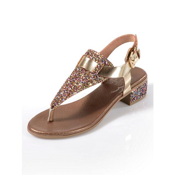 Alba Moda T-Steg-Sandalen gold-kombi