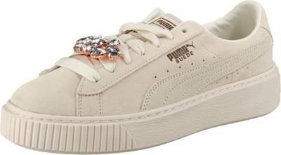 PUMA, Suede Platform Gem Sneakers Low, weiß