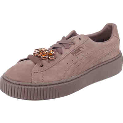 Suede Platform Gem Sneakers Low