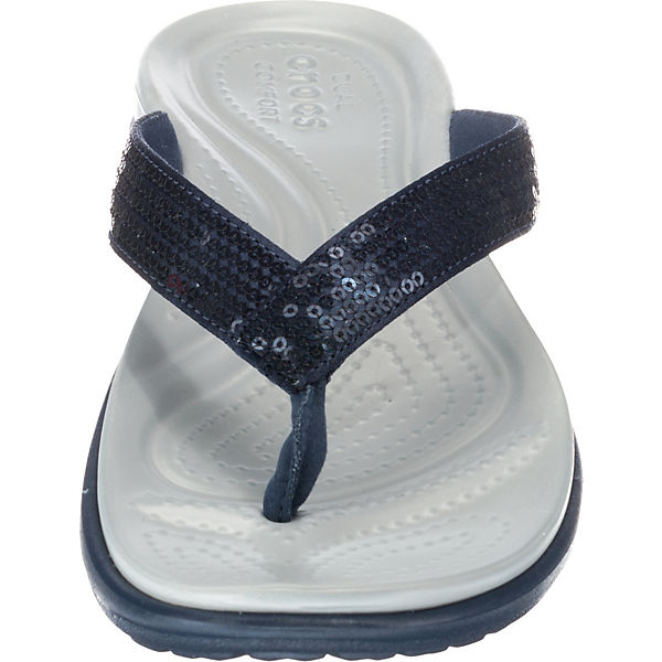 V W Capri crocs blau Navy Sequin grau Zehentrenner Lgr 5twFq