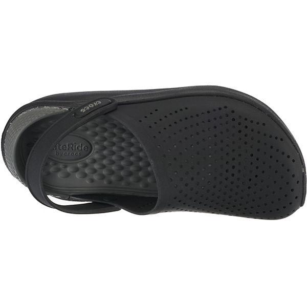 crocs, schwarz/grau LiteRide Clog Blk/SGy Clogs, schwarz/grau crocs,   6530bf