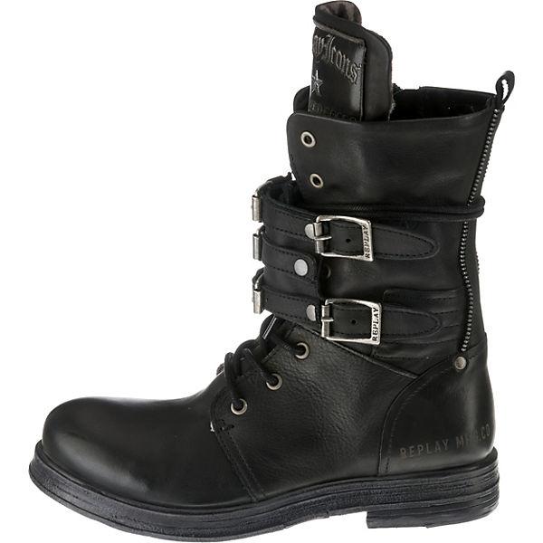 REPLAY, BANGLES  Biker Boots, schwarz   BANGLES dc8ec3