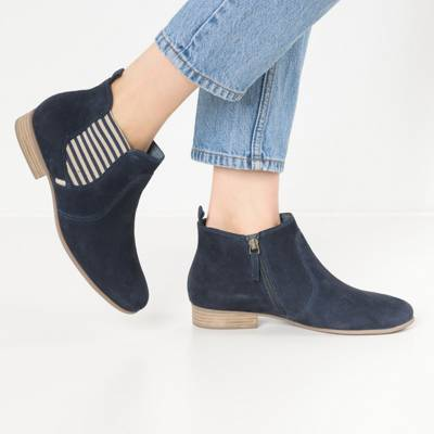 1 25415 21 805 Damen Navy Blau Stiefelette im Chelsea Boot Style mit TOUCH IT Sohle