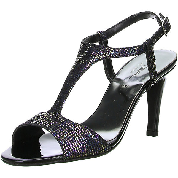 Damen T-Steg-Pumps Glitzeroptik schwarz Sling-Pumps