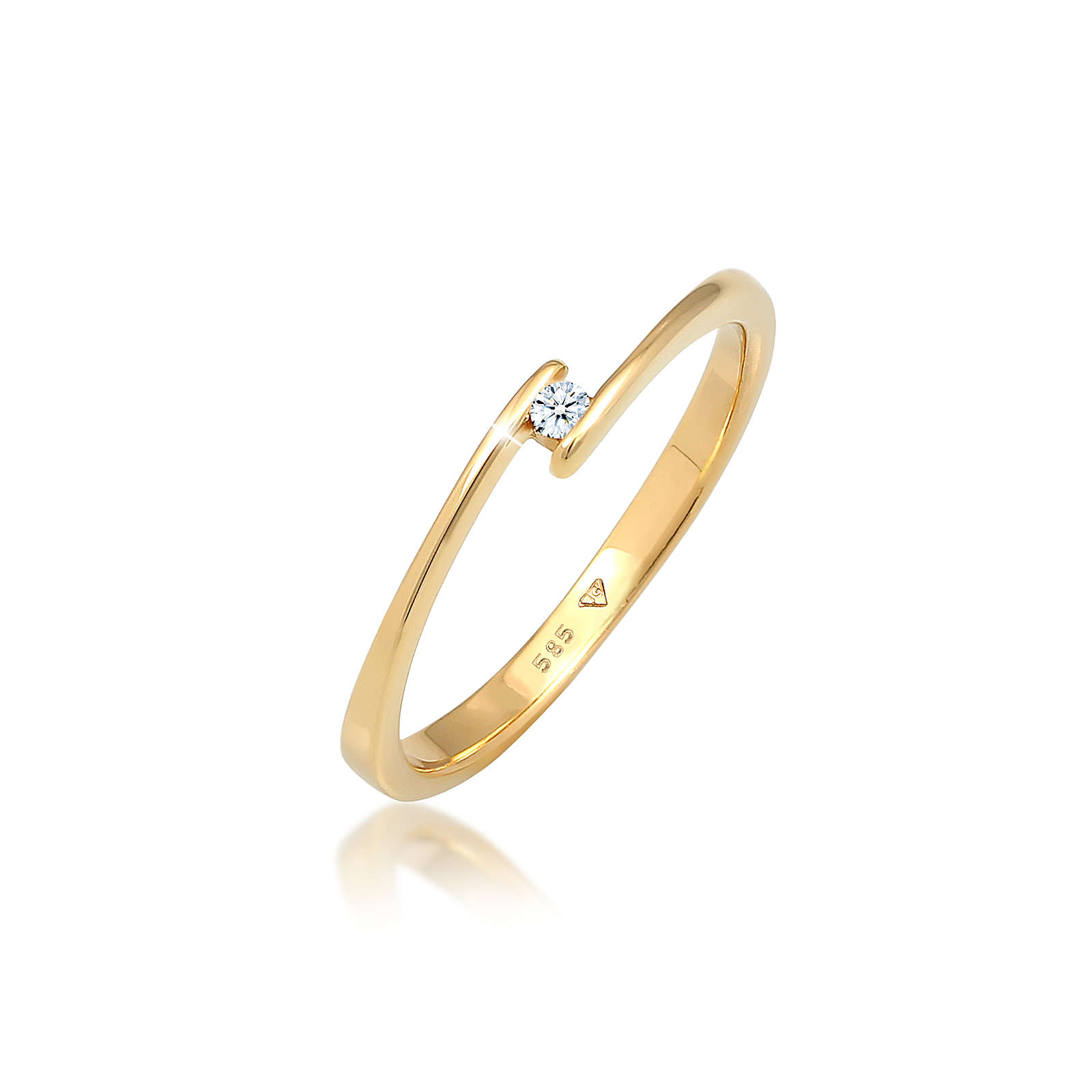 Diamore Ring Solitär Verlobungsring Diamant 0.03 ct. 585 Gold Ringe gold Damen Gr. 54