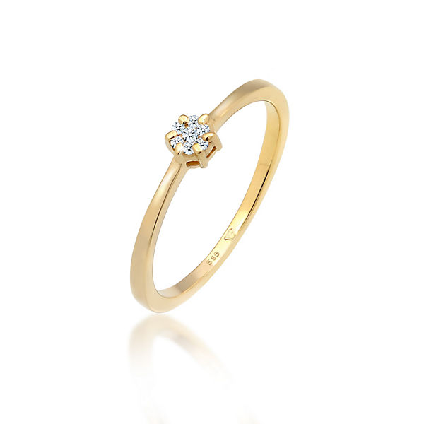 Diamore Ring Solitär Verlobung Diamant 0.08 ct. 585 Gold Ringe