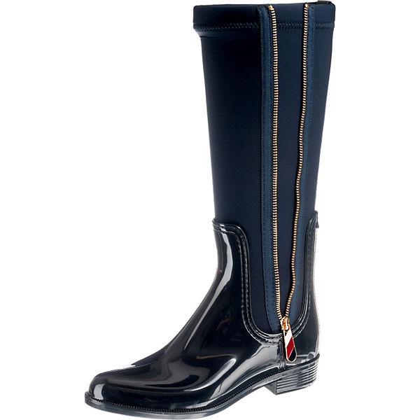 Klassische BOOT TOMMY MIX blau RAIN HILFIGER Stiefel LONG MATERIAL CaY4O