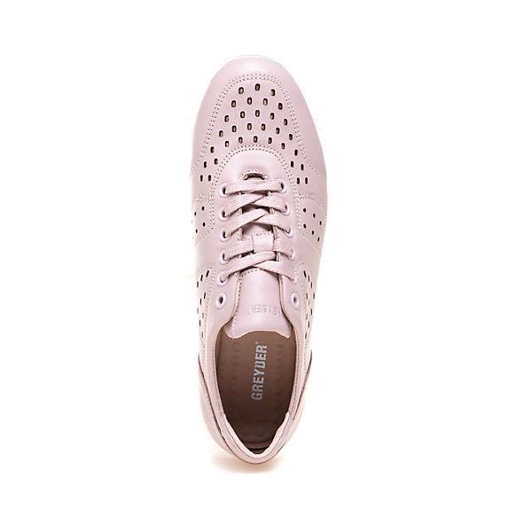 Ziersteppungen breiter mit Sneaker rosa Greyder und Gummisohle GREYDER wX6ACxqxt