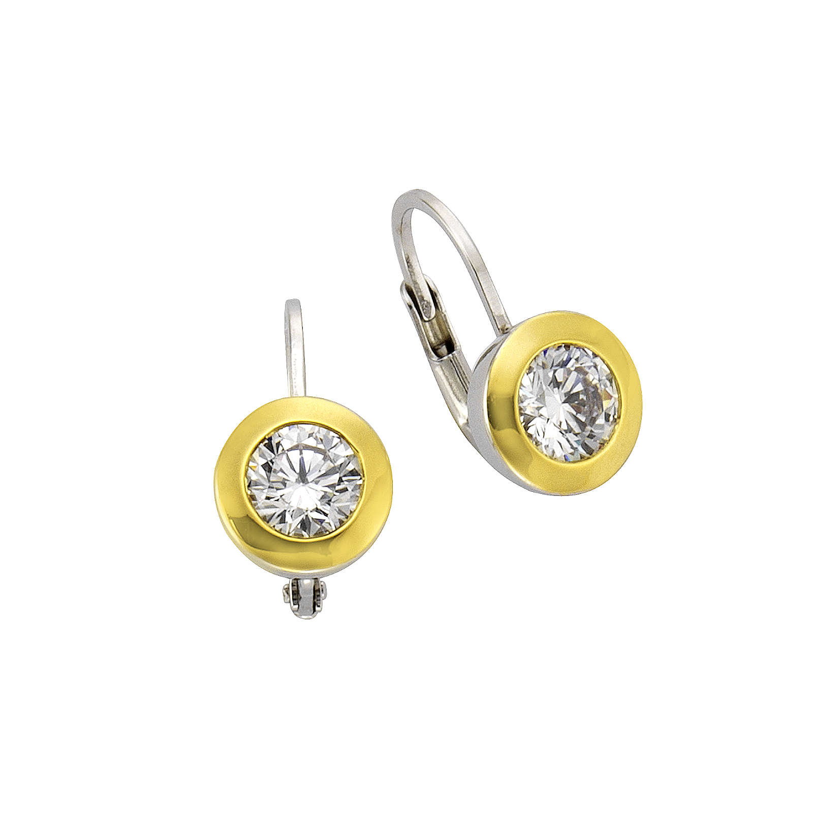 Celesta Silber Ohrhänger 925/- Sterling Silber bicolor ZirkoniaOhrringe mehrfarbig Damen