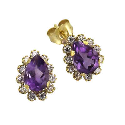 Fascination by Ellen K. Ohrstecker 333/- Gelbgold Amethyst ZirkoniaOhrringe