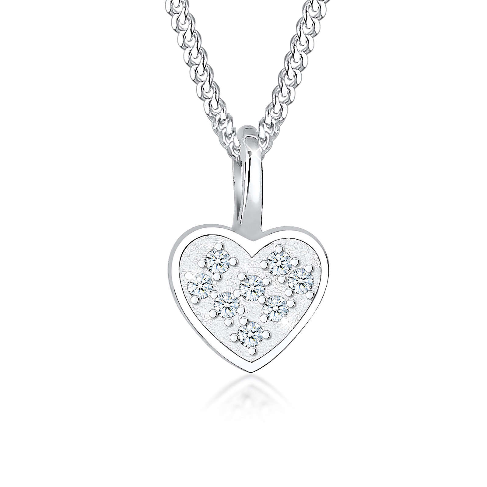 Elli PREMIUM Halskette Herz Liebe Diamant (0.08 ct.) 925 Silber Halsketten silber Damen