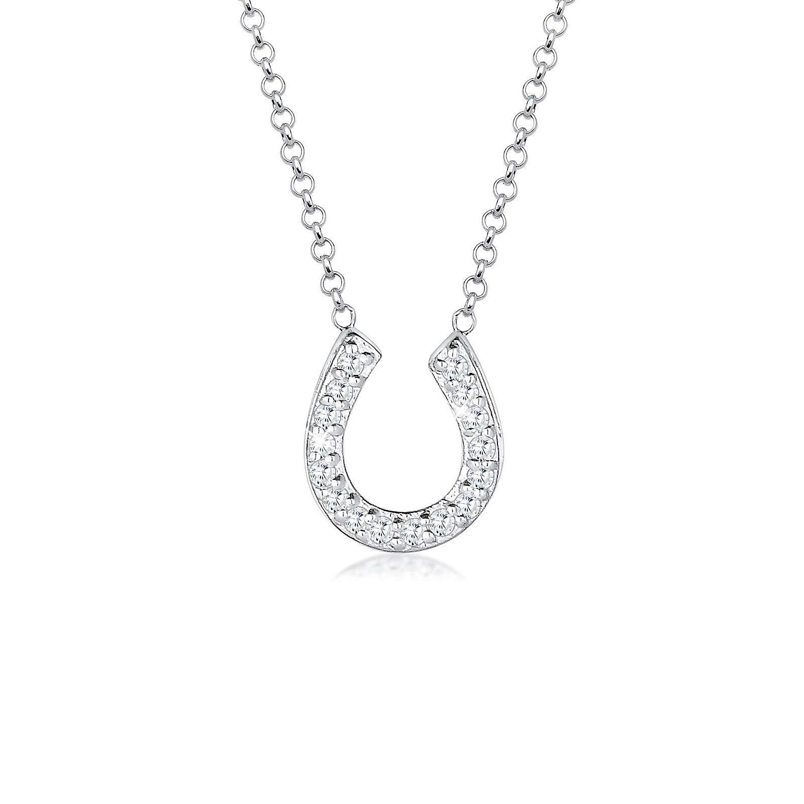Elli Halskette Hufeisen Glück Zirkonia 925 Sterling Silber Halsketten weiß Damen