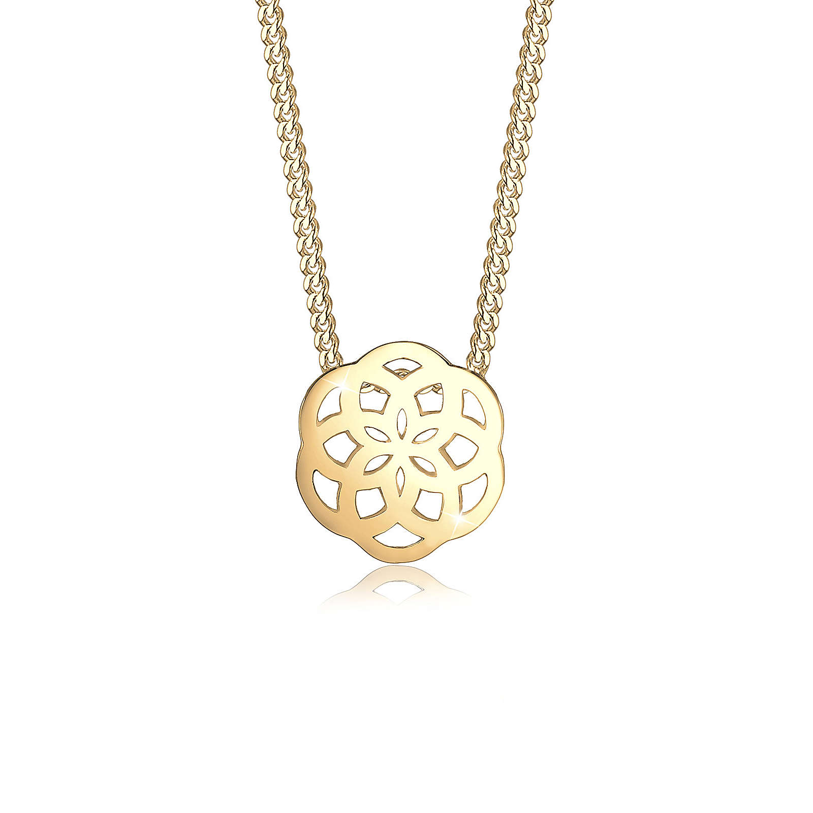 Elli PREMIUM Halskette Ornament Blüte Floral Edel Cut-Out 585 Gelbgold Halsketten gold Damen