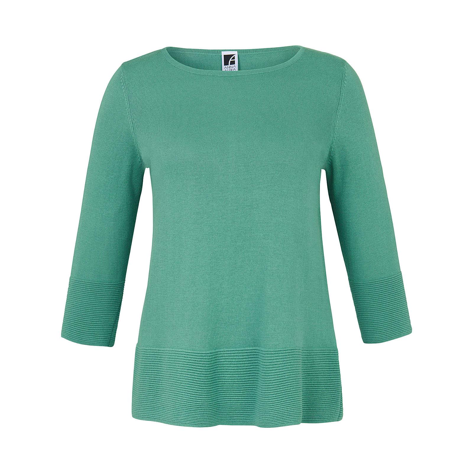 ANNA AURA Rundhals-Pullover mit 3/4-Arm Pullover grün Damen Gr. 52