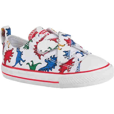 Baby Sneakers Low CTAS 2V OX WHITE/ENAMEL RED/TOTALLY BLUE für Jungen, Dinosaurier
