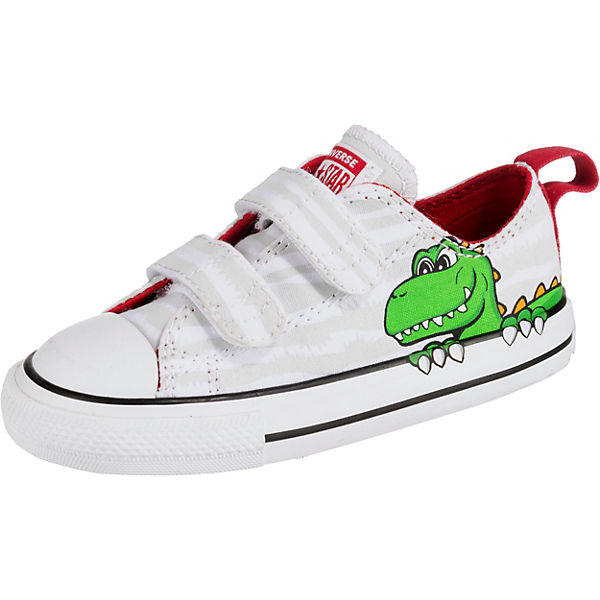 new arrival 314b3 7abd2 CONVERSE, Baby Sneakers Low CTAS 2V OX WHITE/MOUSE/ENAMEL RED für Jungen,  Dinosaurier, weiß/grau