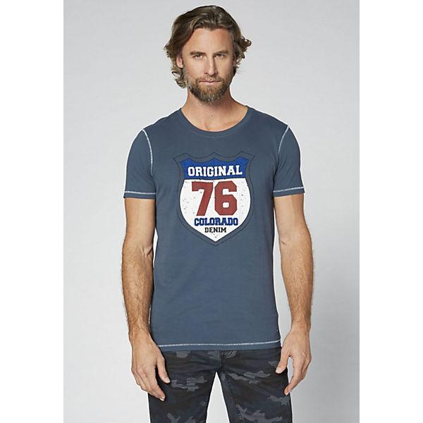 blue Herren denim reiner DENIM GOTS T Shirt dark COLORADO aus Baumwolle TEzwqWC