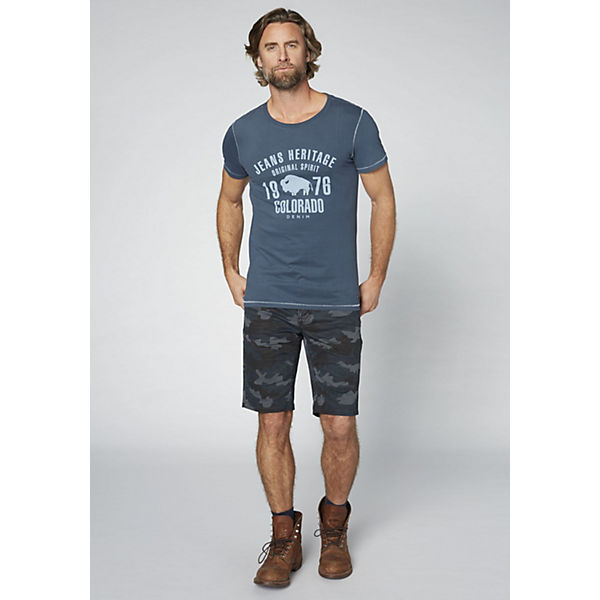 T Frontprint denim Herren mit Shirt GOTS DENIM COLORADO großem dark blue Ox0gTwc