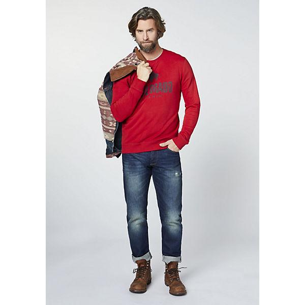 Sweatshirt rot DENIM Herren COLORADO mit Logoprint 0TEwdxqX