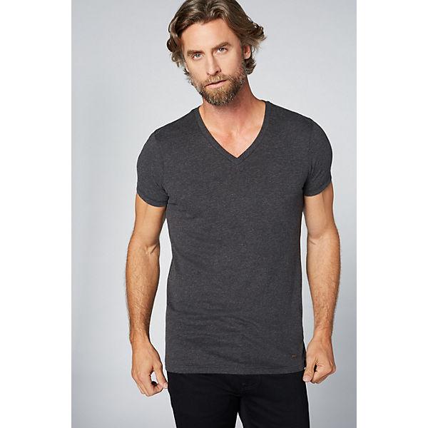 COLORADO DENIM Herren T-Shirt mit V-Ausschnitt dunkelgrau