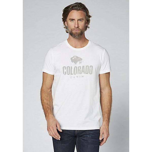 COLORADO DENIM GOTS Herren T-Shirt mit Logoprint weiß