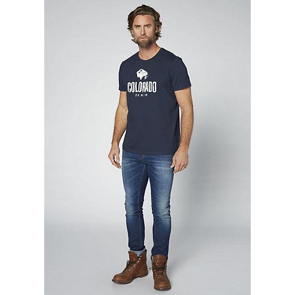 COLORADO GOTS DENIM T Shirt Herren dunkelblau mit Logoprint rOrwqFA