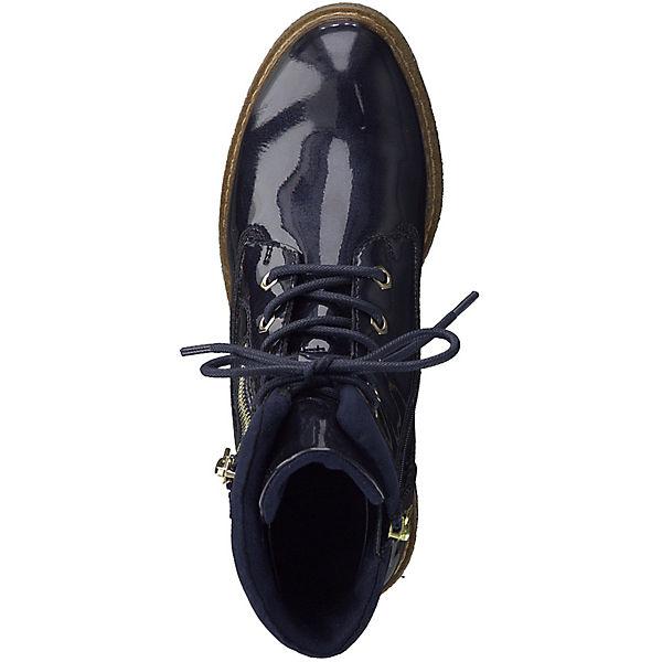Tamaris, 1-25223-21 831 Stiefelette Damen Pacific Patent Dunkelblau Stiefelette 831 mit TOUCH-IT Sohle Schnürstiefeletten, blau  Gute Qualität beliebte Schuhe 40ebd9