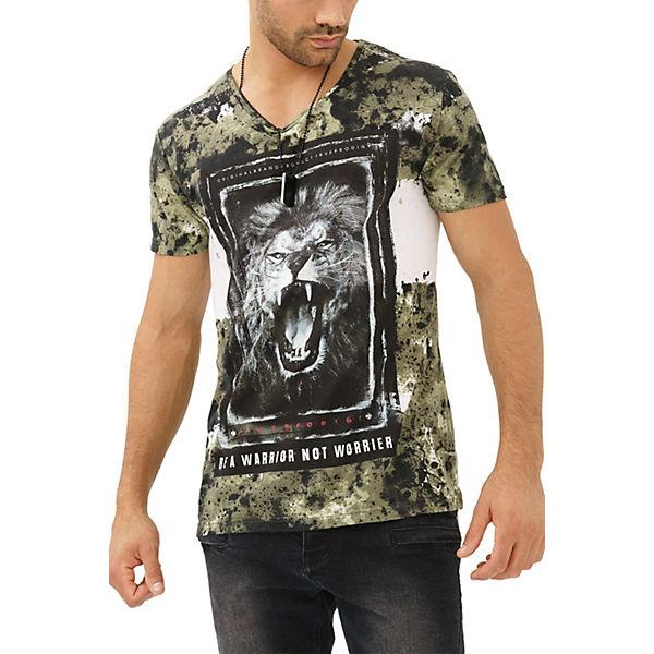 Lion Löwen Print khaki Shirt mit außergewöhnlichem trueprodigy® T Xvwq6EYxnz