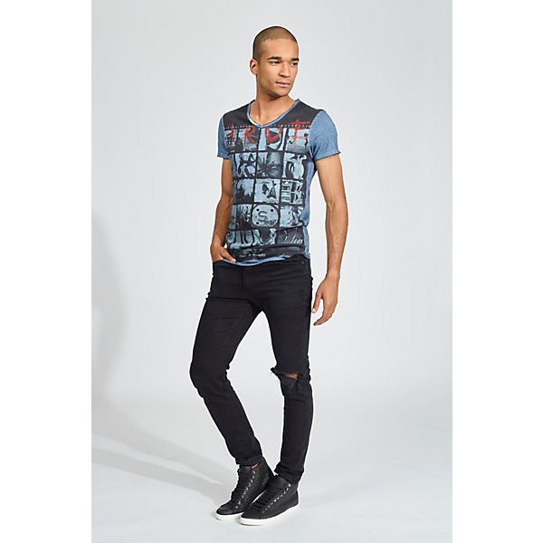 Summer Shirt großen mit T True grau Frontprint trueprodigy® blau R4nwBxt