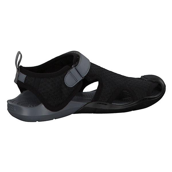 crocs, Sandale Swiftwater in  wasserfester Ausführung 204597-4GX, schwarz/grau  in  f42115