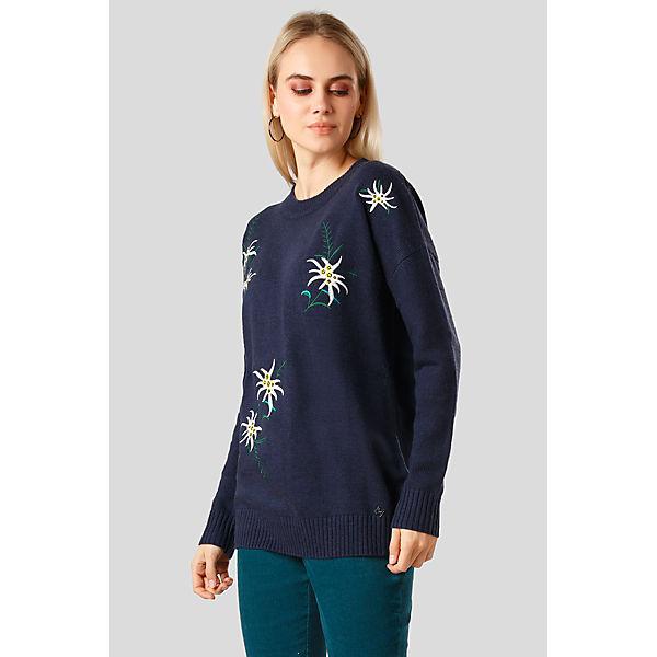 Flare Stickerei mit Finn Blumen eleganter Pullover blau aqAAwB0x