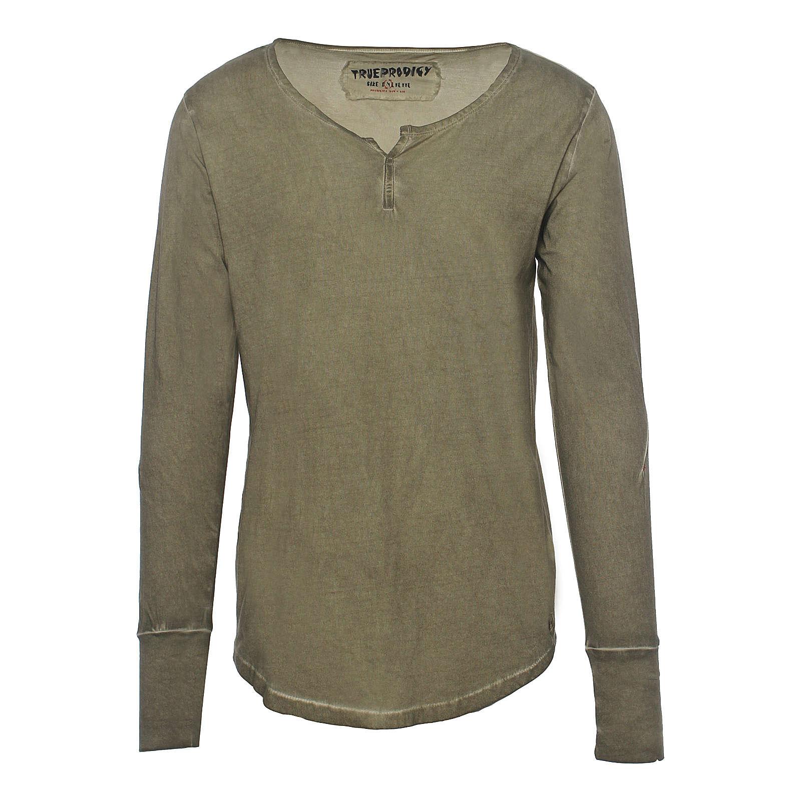 trueprodigy® Langarmshirt Primal Oiled mit klassichem Rundhals khaki Herren Gr. 54