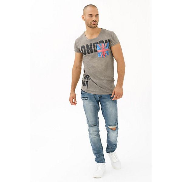 Shirt London trueprodigy® grau T Frontprint coolem mit Flag London 5w1wqY