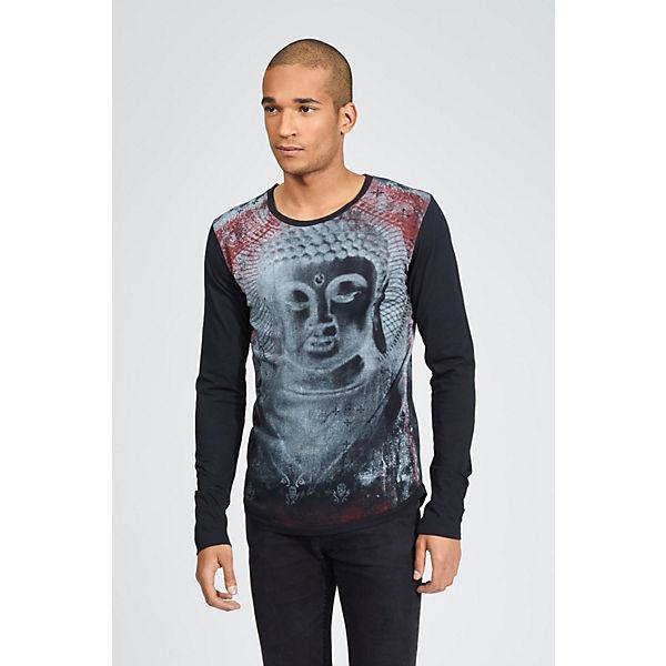 mit Langarmshirt trueprodigy® Buddha Black Print Budda schwarz q16p7wT6