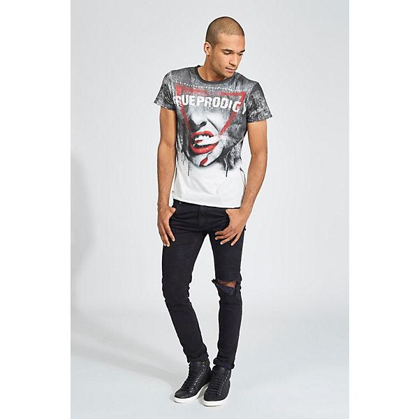 weiß T Print Shirt mit Lips Front trueprodigy® Red grau coolem U1Hwwgq