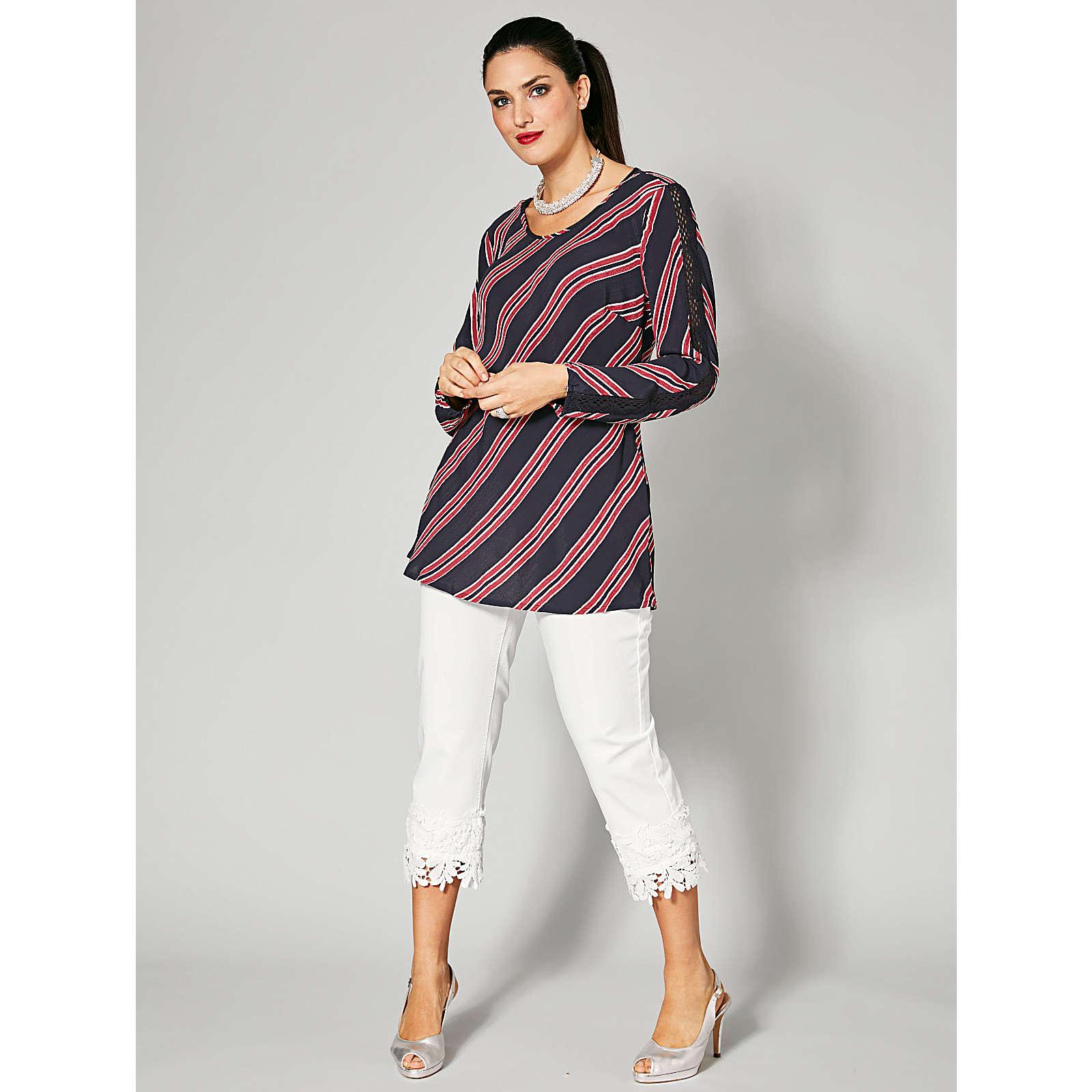 Sara Lindholm 7/8 Straight Cut Jeans mit Spitze weiß Damen Gr. 44
