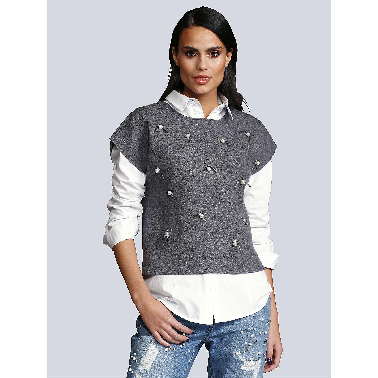 Alba Moda Kurzarm-Pullover grau Damen Gr. 46