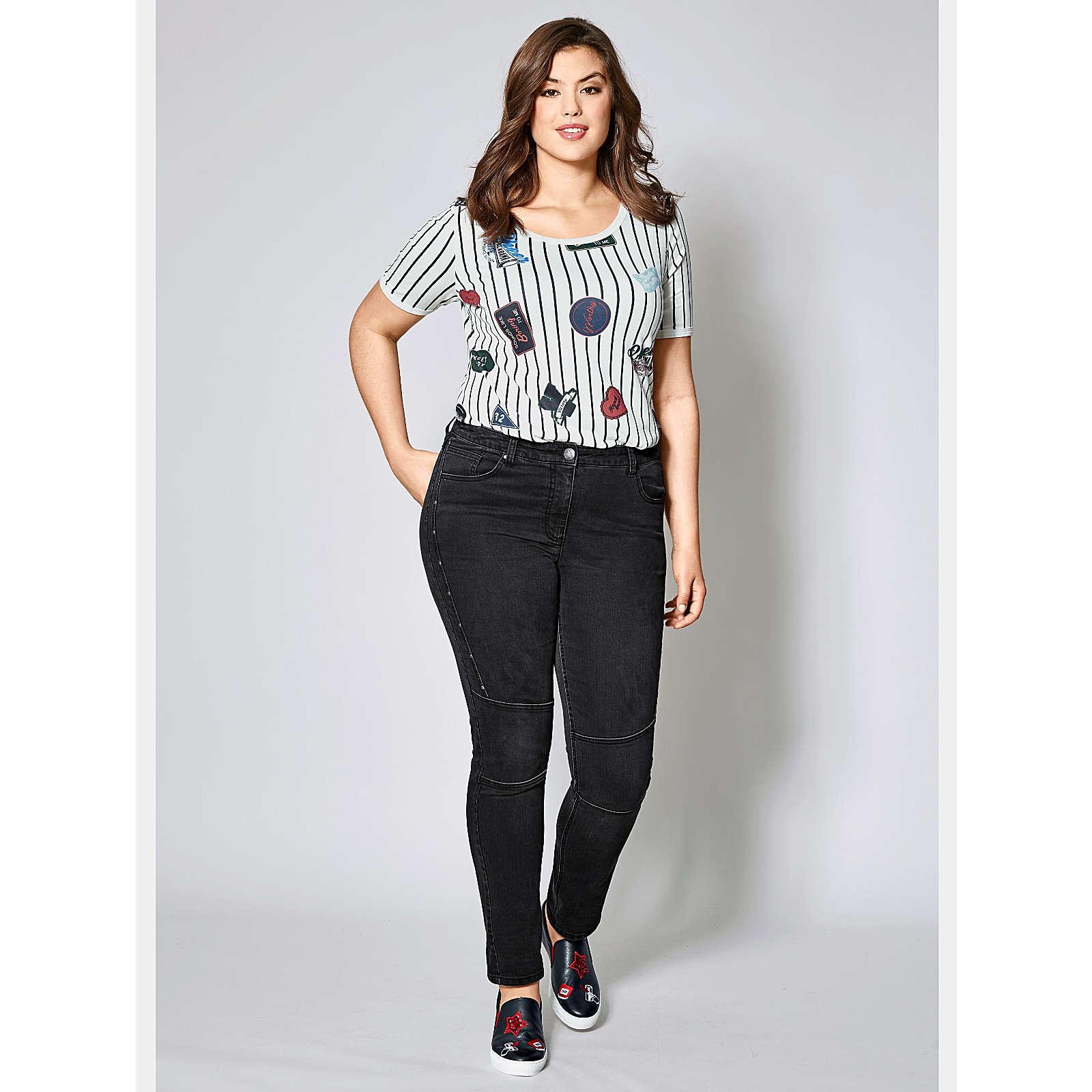 Angel of Style Slim Fit Jeans mit Nieten schwar...