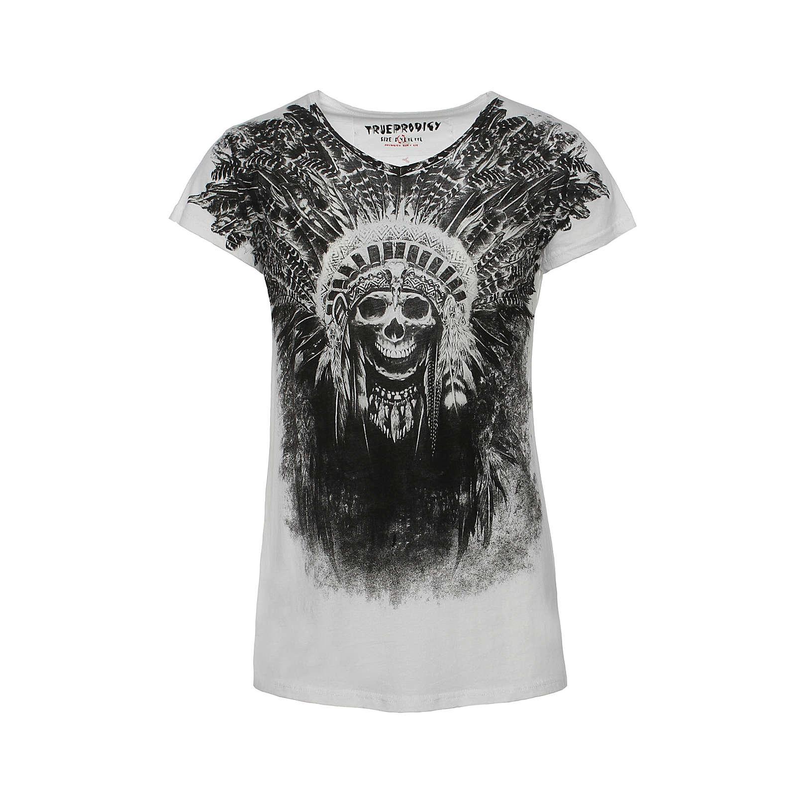 trueprodigy® T-Shirt Skull Indian mit V-Ausschnitt weiß Herren Gr. 48